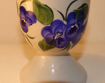 Egg cup, hand painted ceramic with purple pansys