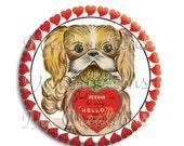 "50% OFF - Valentine's Day Adorable Doggie Pocket Mirror, Magnet or Pinback Button - Favors - 2.25""-  MR490"