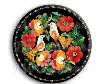 "35% OFF - Russian Birds Pocket Mirror, Magnet or Pinback Button - Wedding Favors, Party themes - 2.25"" MR509"