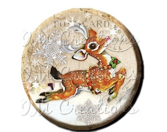 "50% OFF - Pocket Mirror, Magnet or Pinback Button - Favors - 2.25""- Vintage Christmas Dashing Reindeer MR302"