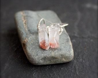 ON SALE Lepidocrocite Gemstone Stick Dangle Earrings - Red Iron Quartz Drop, Sterling Silver Hoop, Boho Jewelry