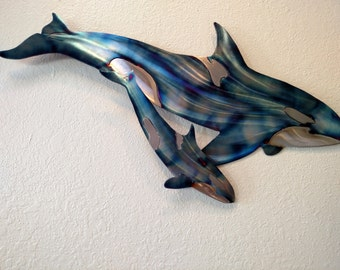 Mother & Baby Orca Orcas Whidbey Island Killer Whale Whales Coast Coastal Steel Ocean Decor Marine Mammal Metal Beach Cottage Home Wall Art