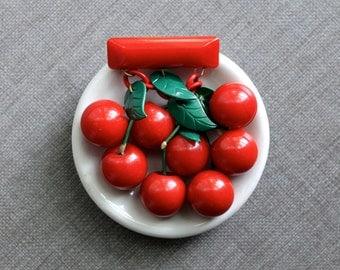 Vintage Bakelite Cherries Brooch, Cherry Red Bakelite Pin, Bakelite Fruit Bar Pin