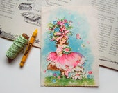 Vintage Birthday Greeting Card Little Girl in Pink Dress with Flowers Poodle and Butterfly