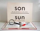 Vintage Giant Sun Word Flashcard | 11x14 Homonym Poster Flash Card | Son Sun | Rode Road