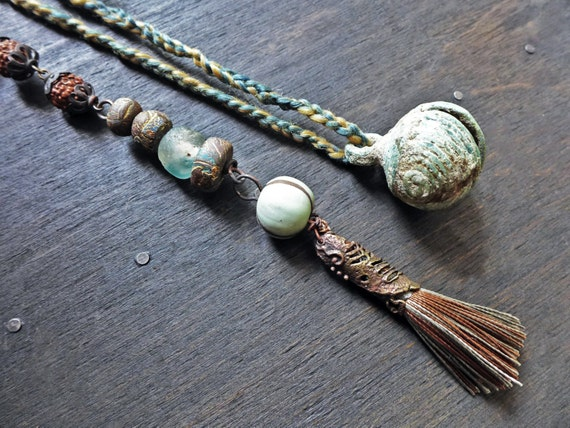Panglossian- rustic assemblage art lariat necklace- handmade mixed media artisan jewelry