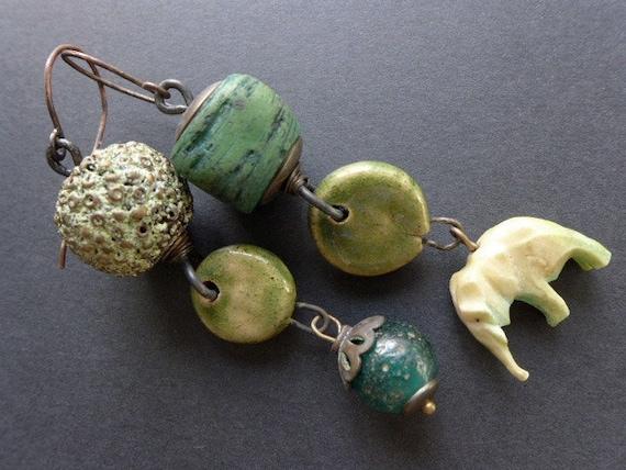 Biognosy. Green asymmetrical rustic assemblage earrings.