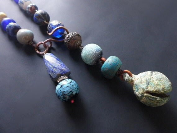 Thalassic. Large chunky rustic assemblage lariat necklace in blues and greens.