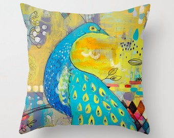 Peacock Pillow cover, Bird Art, Blue and Yellow