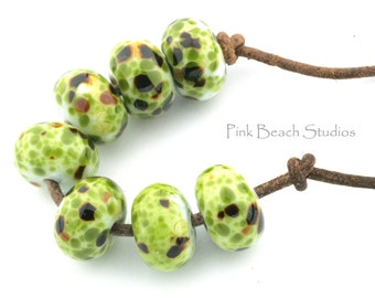 Greens Handmade Glass Lampwork Beads (7 count) by Pink Beach Studios - SRA (1078)