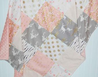 gold baby blanket- woodland baby blanket-patchwork minky baby blanket-arrow baby blanket- pink baby blanket- baby girl blanket- baby bedding