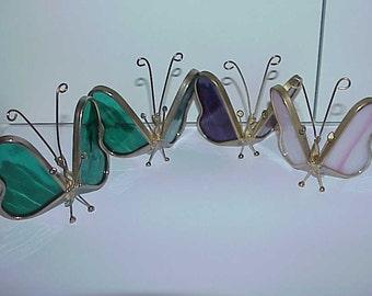 4--Stained Glass--BUTTERFLIES--2 Green--1 Purple--1 Pink/White Milk Glass Slag--Pretty--Butterfly