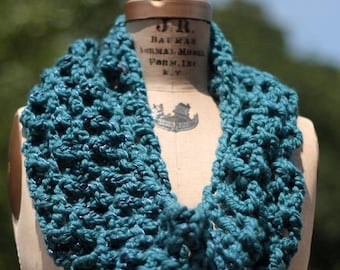 Sale circle scarf Infinity scarf crochet lacy soft blue