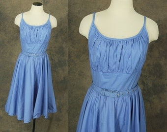 vintage 50s Sun Dress - 1950s Blue Sleeveless Day Dress Shelf Bust Dress Sz S