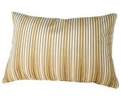 Gold Cream Striped Pillow, Velvet Stripes Pillow, Gold Cushion Cover, Luxury Burnout Velvet, Lumbar, 12x18, 12x20