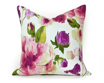 Designer Floral Pillow Cover, Watercolor Throw Pillows, Floral Pillows, Pink Rose Mauve Purple White, Spring Home Decor 18x18, 45x45 cm