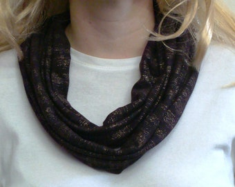 Burgundy Sparkle Infinity Scarf - Gold Glitter Circle Scarf - Loop Scarf - Forever Scarf