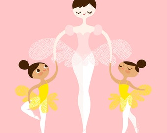 "8X10"" ballerina mommy and twins giclee print on fine art paper. pink, yellow, dark brunette,light tan/mocha"