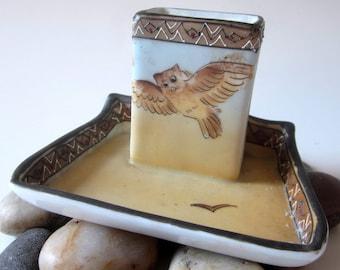 Vintage Porcelain Nippon Hand Painted OWL Ashtray Matchbox Holder Jewelry Tray Dish Bowl Pin Dresser Raised Beaded Enamel