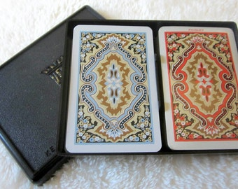 Kem  Vintage PAISLEY Double Deck Playing Cards 1950s Red Blue Deco Storage Case Jokers Plastic Case Sealed USA Stamp Rare
