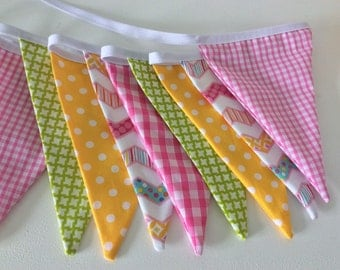 "Nursery bunting, flag banner, fabric garland 12 flags long, 2.5m or 98""  baby shower, bedroom, parties."
