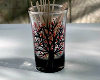 Toothpick Holder, Hand Painted Glass, Glass Toothpick Holder, Table Decoration, Hand Painted Tree with Orange Leaves