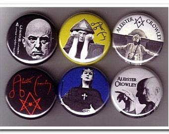ALEISTER CROWLEY pins badges buttons OTO Golden Dawn Magick Occult Thelema
