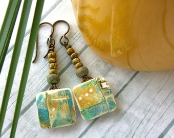 Polymer Clay Earrings Jewelry featuring a Rustic Design in Yellow, Turquoise and White