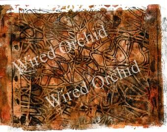 Laser Copy of Original Acrylic Artwork / Rust, Dark Orange, Black Squiggle Design