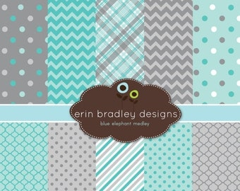 60% OFF SALE Digital Scrapbook Papers Personal and Commercial Use Blue and Grey Medley