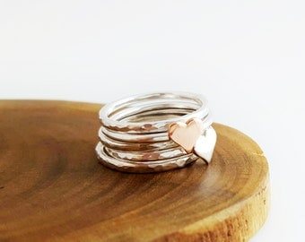 Heart stacking rings - sterling silver rings - stacking rings - set of 5