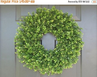 FALL WREATH SALE Faux Thin Artificial Boxwood Wreath, Storm Door Wreaths, Front Door Outdoor Wreath,  Ready to Ship, Door Decor, Sizes 14-24