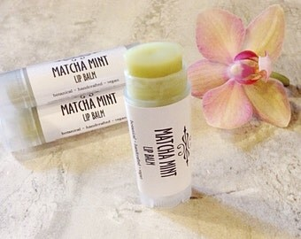 Matcha Green Tea Lip Balm • Matcha Mint Vegan Lip Balm • Natural Lip Balm