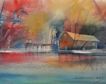 Lake Love Watercolor Painting, Lake House Decor, Lake House Art, Landscape Print, Home Decor Art, Landscape Art, Watercolor Art, Lake Decor
