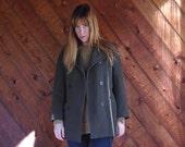 30% off ... Olive Green Pea Coat Car Coat Italian Wool - Vintage 90s - SMALL S