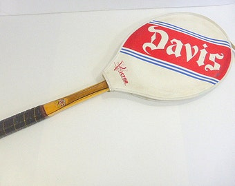 Vintage Tad Davis Wood Tennis Raquet with Davis  Cover Imperial Deluxe Preppy Decor Sports Decor