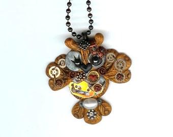 Steampunk  Gold Tone Hooty Owl Necklace Polymer Clay Jewelry