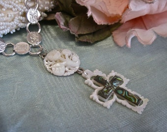 Heaven Sent: Cross Choker Carved Mother of Pearl Abalone Shell Silver Vintage Assemblage Bridal Necklace Boho Wedding One of a Kind