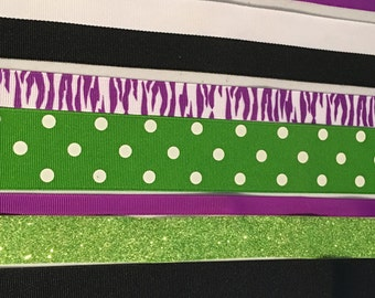 Halloween Scrapbook ribbons, card making ribbons or hair bow ribbon set.  8 yards of ribbon.