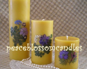 Beeswax  Candle Pillar Natural Color Decorated with Dried Flowers 4 inches tall