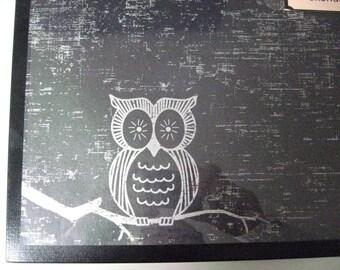 Silver Owl ..Magnet Dry Erase Steel Memo Board / Housewarming Gift / Office Decor / Organization / Wall Hanging Decor/ Desk / Message Board