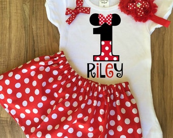 Minnie Mouse Birthday Skirt Set - Minnie Mouse Outfit