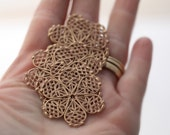 Dusty Rose Gold Alloy Filigree Flower Stamping Findings 35mm (6)