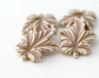 Vintage Tan White Lucite Leaf Pendant Beads 40mm (4)
