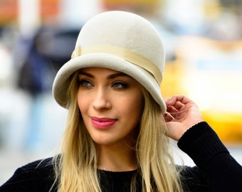 Cloche Hat For Women 1920s Cloche Hat Flapper Hat Fall Accessory Gift For Her Felt Cloche Women's Hat Fall Fashion Custom Hat Great Gatsby