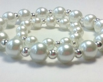 Mother Newborn/Baby,Mother Daughter Matching Glass Pearl and Sterling Silver Plated Bead Stretch Bracelets, White