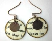 Book page earrings, book earrings, literary earrings, Art of Today, Chicago