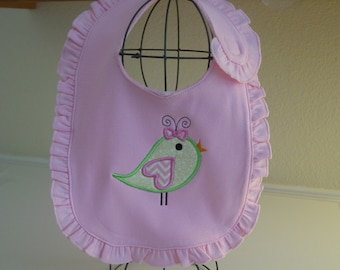 Applique Little Bird baby girl bib with ruffles