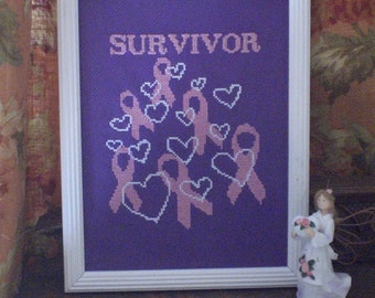 Survivor with Hearts - counted cross stitch graph - downloadable chart