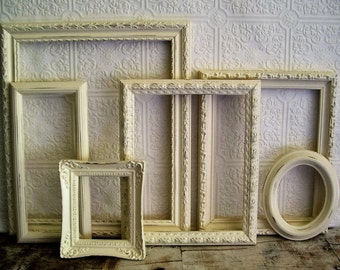 Ornate photo frames painted picture frame Vintage Gallery Shabby Chic Cottage Chic Wall decor Home decor Farmhouse decor Wedding Romantic